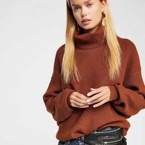 NEW Free People Oatmeal Heather Turtleneck Sweater